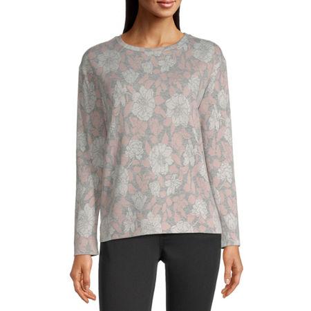 Liz Claiborne Womens Crew Neck Long Sleeve Sweatshirt, Large , Pink