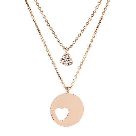 """Mother And Daughter"" Sparkle Allure You & Me 2-pc. Cubic Zirconia 18K Rose Gold Over Brass 16 Inch Link Necklace Set, One Size , No Color Family"