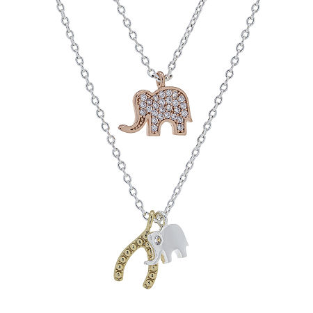 """Mother And Daughter"" Sparkle Allure You & Me 2-pc. Cubic Zirconia 10K Tri-Color Gold Over Brass 16 Inch Link Necklace Set, One Size , No Color Fami"