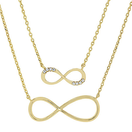 """Mother And Daughter"" Sparkle Allure You & Me 2-pc. Cubic Zirconia 14K Gold Over Brass 16 Inch Link Necklace Set, One Size , No Color Family"