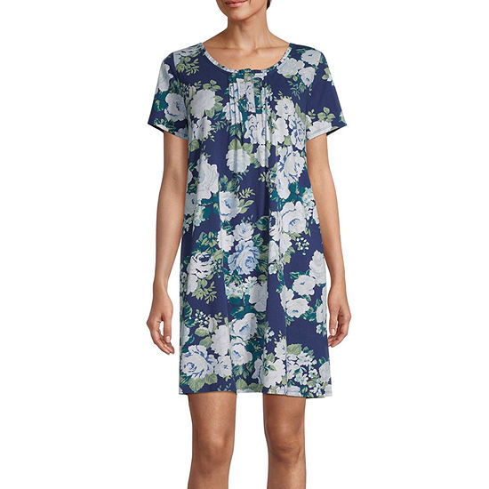 Adonna Womens Short Sleeve Round Neck Nightgown