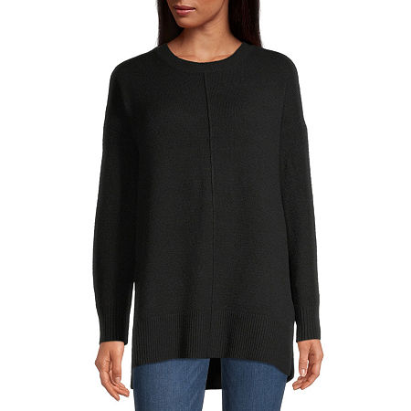 a.n.a Womens Crew Neck Long Sleeve Pullover Sweater, Small , Black