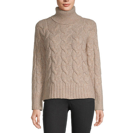 a.n.a. Womens Turtleneck Long Sleeve Pullover Sweater, Large , Beige