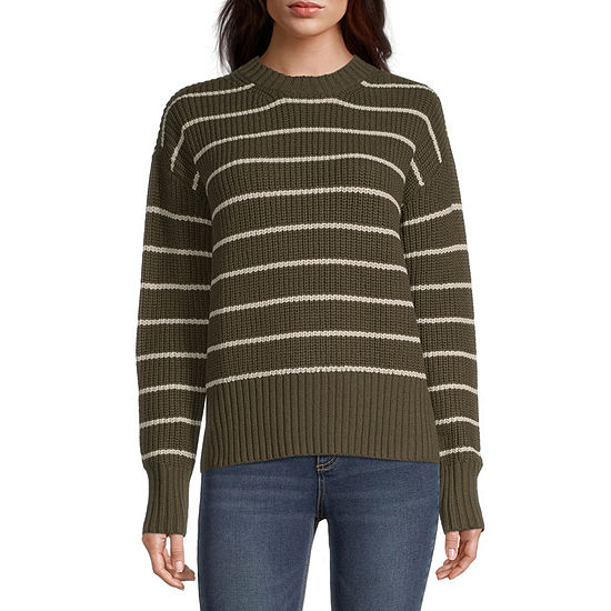 a.n.a. Womens Crew Neck Striped Pullover Sweater