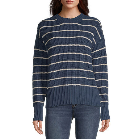 a.n.a. Womens Crew Neck Striped Pullover Sweater, Xx-large , Blue
