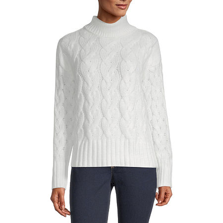 a.n.a Womens Turtleneck Long Sleeve Pullover Sweater, X-large , White
