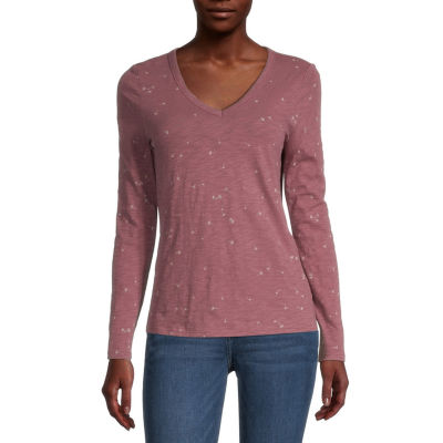 a.n.a. Womens V Neck Long Sleeve T-Shirt