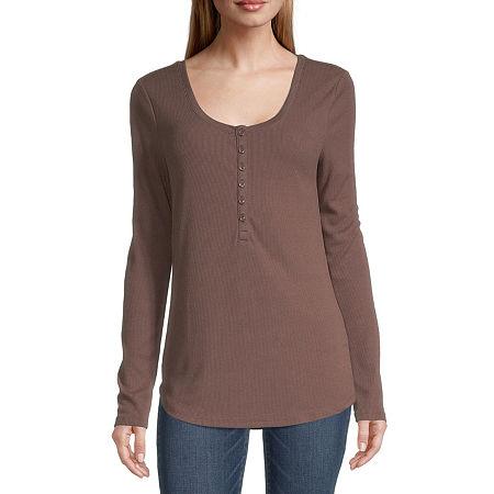 a.n.a Womens Henley Neck Long Sleeve Shirt, X-small , Brown
