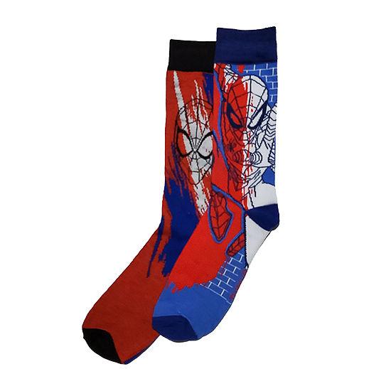 Marvel Spiderman Mens 2 Pair Crew Socks