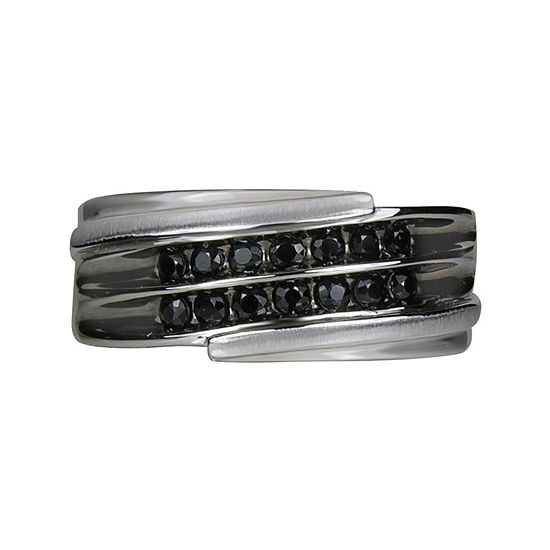 LIMITED QUANTITIES! Mens 2-Row Black Sapphire Ring