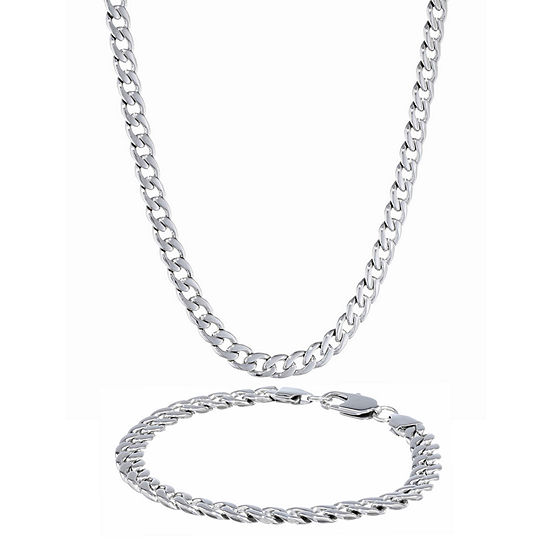 Mens Stainless Steel 7mm Curb Chain & Bracelet Boxed Set