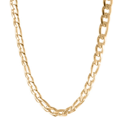 "Mens Stainless Steel & Gold-Tone IP 22"" 11mm Figaro Chain"