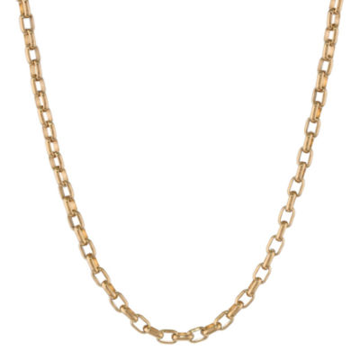 "Mens Stainless Steel & Gold-Tone IP 22"" 4mm Foxtail Chain"