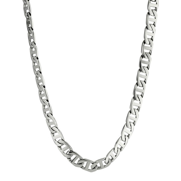 "Mens Stainless Steel 22"" 10mm Marine Link Chain"