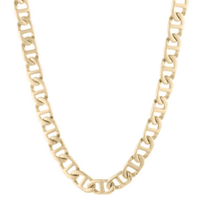 "Mens Stainless Steel & Gold-Tone IP 22"" 10mm Marine Link Chain"