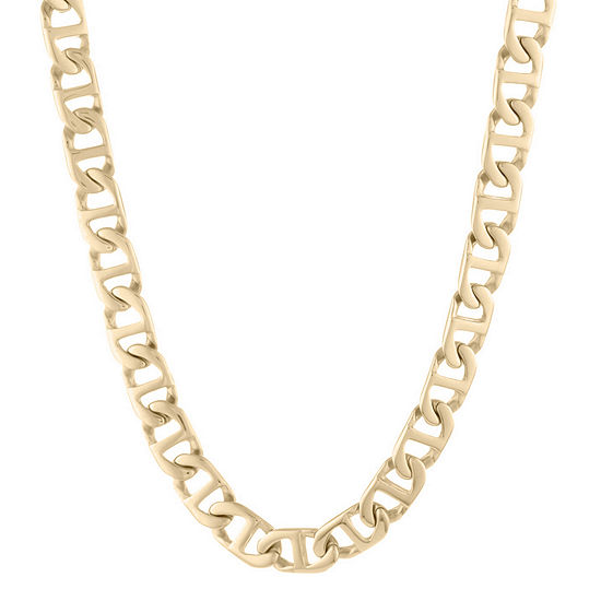"""Mens Stainless Steel & Gold-Tone IP 22"""" 10mm Marine Link Chain"""