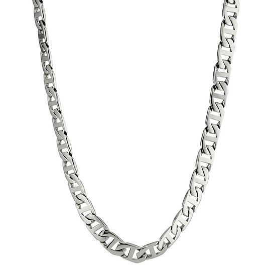 """Mens Stainless Steel 24"""" 10mm Marine Link Chain"""