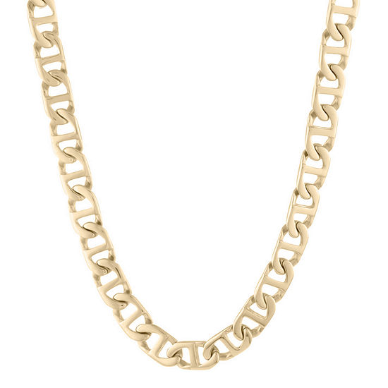 "Mens Stainless Steel & Gold-Tone IP 24"" 10mm Marine Link Chain"