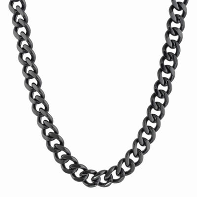 "Mens Stainless Steel & Black IP 22"" 12mm Curb Chain"