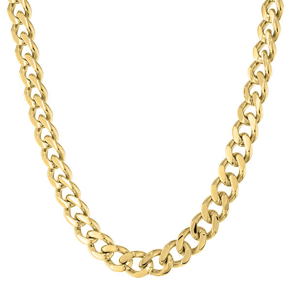 "Mens Stainless Steel & Gold-Tone IP 20"" 12mm Chunky Curb Chain"