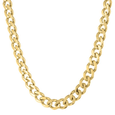 "Mens Stainless Steel & Gold-Tone IP 24"" 12mm Chunky Curb Chain"