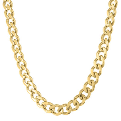 "Mens Stainless Steel & Gold-Tone IP 22"" 12mm Chunky Curb Chain"