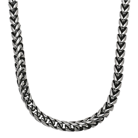 "Mens Stainless Steel & Black IP 24"" 8mm Foxtail Chain"