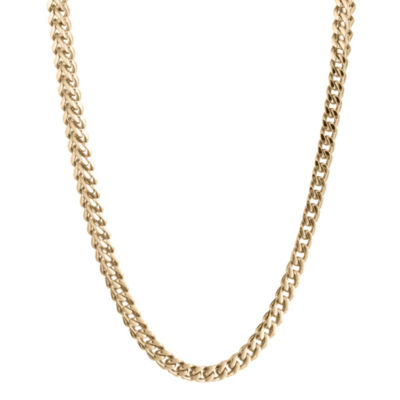 "Mens Stainless Steel & Gold-Tone IP 24"" 4mm Foxtail Necklace"