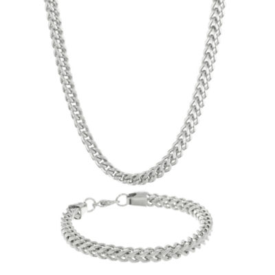 Mens Stainless Steel 6mm Foxtail Chain & Bracelet Boxed Set
