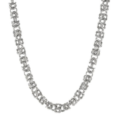 "Mens Stainless Steel 24"" 7mm Byzantine Chain"