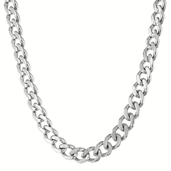 "Mens Stainless Steel 24"" 12mm Chunky Curb Chain"