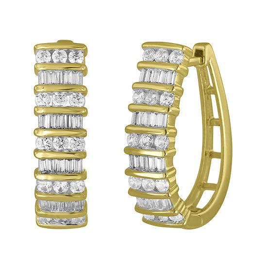 1 CT. T.W. Diamond 10K Yellow Gold Railroad Hoop Earrings