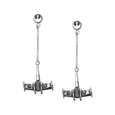 Star Wars® Stainless Steel X-Wing Fighter Drop Earrings