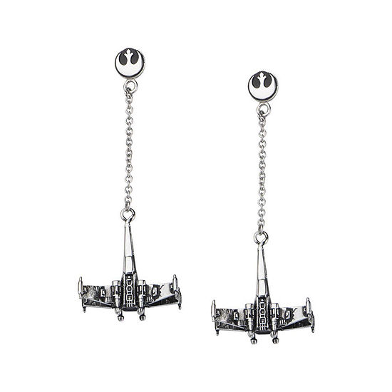 Star Wars® Stainless Steel X-Wing Fighter Drop Earrings