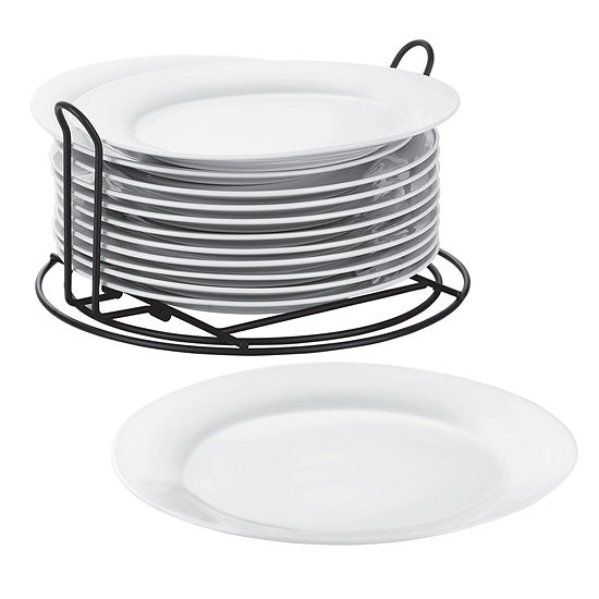 Cooks Set of 12 Stackable Catering Dinner Plates with Wire Stand