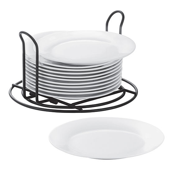 Cooks Set of 12 Stackable Catering Salad Plates with Wire Stand