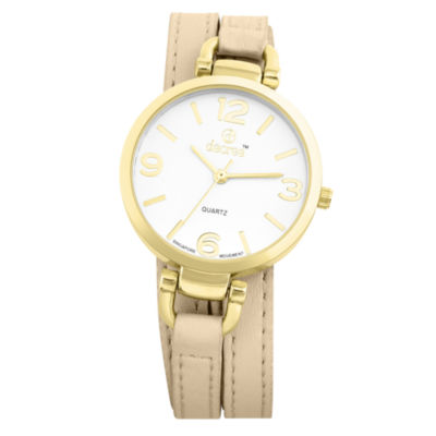 Decree® Womens Tan Strap Wrap-Look Watch