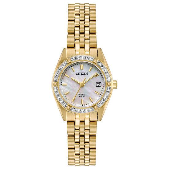 Citizen Womens Gold Tone Stainless Steel Bracelet Watch-Eu6062-50d