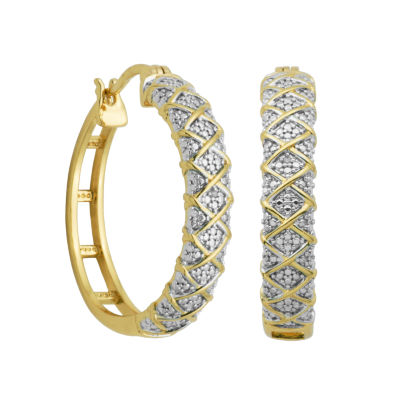 Sparkle Allure White Circle Hoop Earrings