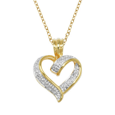 Sparkle Allure Womens White Heart Pendant Necklace