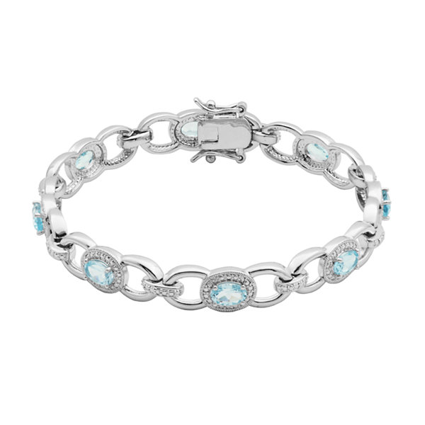 Sparkle Allure Genuine Blue Topaz Link Bracelet