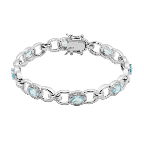 Sparkle Allure Genuine Blue Topaz Link Bracelet