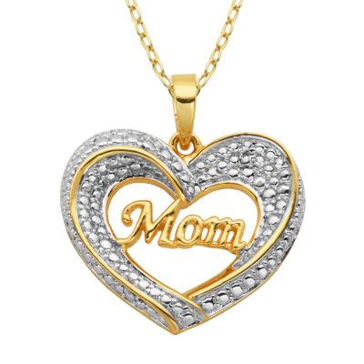 "Sparkle Allure Womens Diamond Accent ""Mom"" Heart Pendant Necklace"