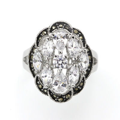 Sparkle Allure Gray Cluster Cocktail Ring