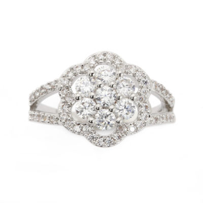 Sparkle Allure Womens White Silver Over Brass Cocktail Ring