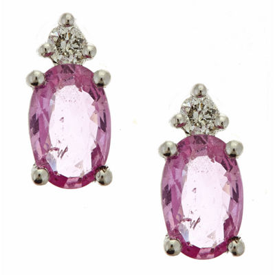 LIMITED QUANTITIES! Diamond Accent Oval Pink Sapphire 10K Gold Stud Earrings