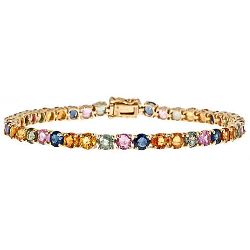 LIMITED QUANTITIES! Multi Color Sapphire 10K Gold Tennis Bracelet