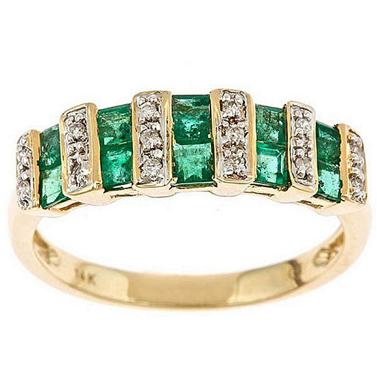 Other Diamond Accent Green Emerald 10K Gold Band