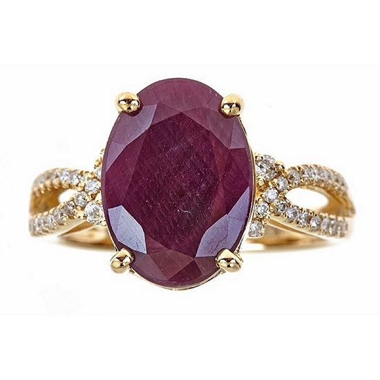 LIMITED QUANTITIES! 1/4 CT. T.W. Red Lead Glass-Filled Ruby 14K Gold Cocktail Ring