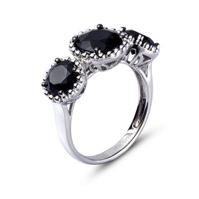 Womens Black Spinel Sterling Silver 3-Stone Ring